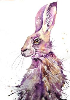 ARTFINDER: Purple Hare by Art by Sarah White - Original Watercolour of this wonderful Hare.Painted on 300 gm watercolour paper. Painted in my loose free style