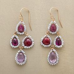 Maribel Earrings at Sundance: Petite seed pearls frame faceted gemstones—rhodolite garnet, ruby, pink amethyst.