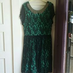 Teal dress Teal dress with gold beads Dresses