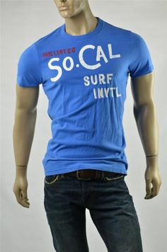 T-shirt HOLLISTER Shirt Mens T Shirts Mens Blue Muscle Fit Crew Sz XL Slim NWT #Hollister #GraphicTee