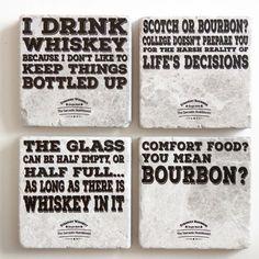 Bourbon and Whiskey Coaster Set (set of