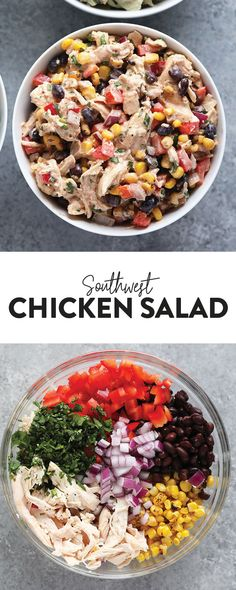 Lunch never tasted so good! Make our Southwest Chicken Salad for a colorful, veg… Lunch never tasted so good! Make our Southwest Chicken Salad for a colorful, veggie-packed lunch/dinner idea to keep you full all week long. Clean Eating, Healthy Eating, Healthy Lunches, Work Lunches, Chicken Salad Recipes, Chicken Salad Healthy, Chicken Potato Salad, Greek Yogurt Chicken Salad, Chicken Protein