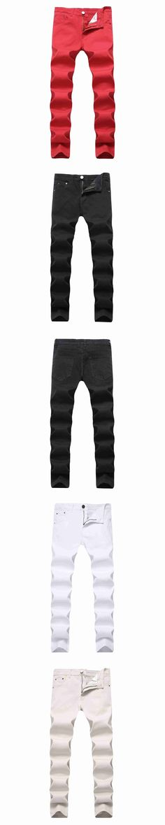 #2117 2017 Men jeans Black/Red/White jean homme Stretch Straight Casual Cotton Slim jeans masculino Pencil jeans for men