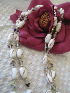 Vintage Gold Fluss Glass Bead Necklace by VintagObsessions on Etsy, $25.00
