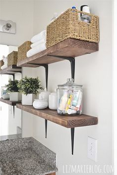 DIY Rustic Wood  Metal Bathroom Shelves - need more bathroom storage..these are quick and easy!