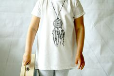 Organic Baby Clothes, girl T-shirt, Hand painted, Adult T-shirt, Dream Catchers, dream, Angel wings, wings by MomHobbe on Etsy