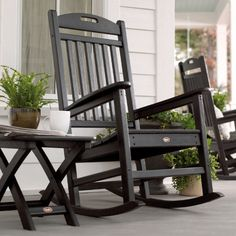 Trex Outdoor Furniture Yacht Club Charcoal Black Plastic Stationary Rocking Chair(s) with Slat Seat at Lowe's. You don't have to be on a yacht to enjoy the gentle rocking of the waves. The Trex® outdoor furniture™ Yacht Club Rocking Chair will Wooden Rocking Chairs, Outdoor Rocking Chairs, Patio Chairs, Adirondack Chairs, Room Chairs, Rocking Chair Front Porch, Adirondack Furniture, Front Porch Furniture, Outdoor Furniture