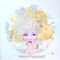 'Nature's Bride' #mixedmedia #lace #girl #hummingbird #vines #art #prints #whimsical www.helenplataniaart.com