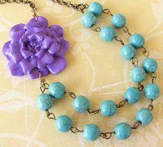 Flower Necklace Bridesmaid Jewelry Purple Necklace by zafirenia, $33.00