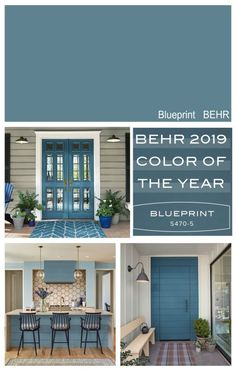 New front door color? Highlight of the 2019 Colors of the Year from the paint manufacturers color forecasts including Sherwin Williams, BEHR, PPG, Ace Hardware and Dutch Boy. Popular Paint Colors, Paint Colors For Home, Paint Colours, Front Door Paint Colors, Outside House Paint Colors, Best Blue Paint Colors, Small Bathroom Paint Colors, Beach House Colors, Best Front Door Colors