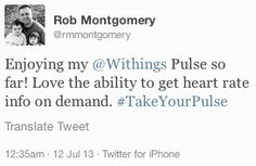 """Rob Montgomery (twitter.com/rmmontgomery) tweeted: """" Enjoying my Withings Pulse so far! Love the ability to get heart rate info on demand. #TakeYourPulse """" Learn more: http://www.withings.com/en/pulse  #Health #Fitness #DigitalHealth #mHealth #QuantifiedSelf #HeartRate #Pulse #Tracker #SelfTracking #HealthTracking #FitnessTracking"""