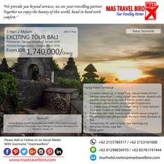 Paket tour ke EXCITING TOUR BALI 3 Hari 2 Malam, mulai dari harga Rp.1.740.000/Pax. Pesan sekarang di MAS Travel Biro😊  (Harga tidak termasuk tiket pesawat)  #mastravelbiro #promotravel #travelagent #tourtravel #tourtravelmurah #travelservices #tiketpesawat #travelindonesia #opentrip #familytour