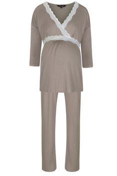 3/4 Sleeve Radiance Pyjamas in Mink  Available from www.mamamoosh.co.uk