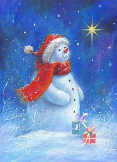 "Photo from album ""Иллюстратор Sarah Summers"" on Yandex. Christmas Scenes, Christmas Pictures, Christmas Snowman, Winter Christmas, Christmas Crafts, Illustration Noel, Christmas Illustration, Illustrations, Frosty The Snowmen"