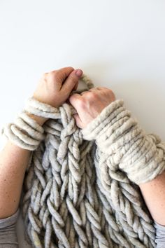 Making Arm Knitting Tighter..  Some helpful hints for creating arm knitted pieces that look more like jumbo sized regular knitting & less like a loose, net-like mess.
