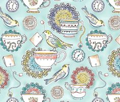 Afternoon Tea fabric by heatherdutton on Spoonflower - custom fabric