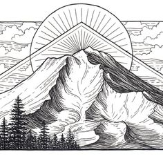 Mountain Art Giclee Print - Mount Shasta, California - Black and White Pen and…