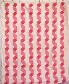 Vintage Quilt: pink and white ribbons, circa 1940's, spotted at etsy (sold)