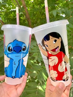 Lilo and Stitch Bestie Starbucks Cold Cup Tumblers Starbucks Cup Art, Starbucks Venti, Custom Starbucks Cup, Personalized Starbucks Cup, Personalized Cups, Cute Stitch, Stitch Toy, Lelo And Stitch, Disney Cups