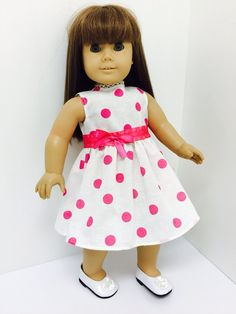Penelope's dress is a crisp linen in candy pink dots tied with a bow. Chloe's Closet, Pink Candy, American Girl, Crisp, Doll Clothes, Dots, Summer Dresses, Fashion, Moda