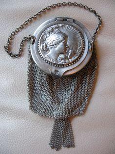 Antique Victorian Art Nouveau Silver Woman Shepherd Mesh Chatelaine Purse W&D #ChangePurse