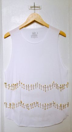 Poppy  Safety Pin Embellished Shirt by TwistedFil on Etsy, $23.50