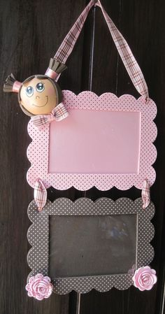 little girl's room hanging frame/chalkboard.just adorable w/girl head in clay Foam Crafts, Diy And Crafts, Arts And Crafts, Paper Crafts, Diy For Kids, Crafts For Kids, Foto Baby, Art N Craft, Diy Frame