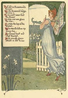 Illustration by Walter Crane (1845-1915) for the book A Floral Fantasy in an Old English Garden, 1899