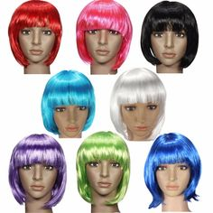 Wigs 2016 Fashionable Bob Stylish Synthetic Straight Hair Women Styling Short Full Lace Wig Multi 8 Colors Halloween Cosplay Party *** AliExpress Affiliate's Pin. Find similar products by clicking the VISIT button