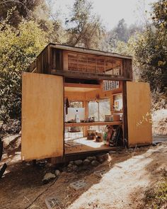 Such a unique house Modern Tiny House, Tiny House Living, Tiny House Design, Tiny Cabins, Cabins And Cottages, Backyard Studio, Tiny Spaces, Cabana, Interior And Exterior