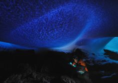Light filtering through the thin roof of an ice cave near Mt. Erebus, Antarctica.