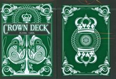 Green Crown Playing Cards V2 by United. $3.87. Now with all new thick, embossed tuck case and shading!  The Green Crown Deck is a new deck of custom playing cards designed to evoke quality, elegance, and style. Featuring Arrco faces, with a Tally-Ho inspired design, the Crown Deck was made for us by the US Playing Card company with a BRAND NEW stock and finish process to ensure lasting quality, durability, and handling superiority. The result is a deck that feels as go...