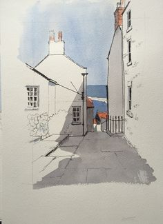 Another demo piece... Simplified: this is the view to the sea from the top of Mount Pleasant in Staithes | by John Harrison, artist