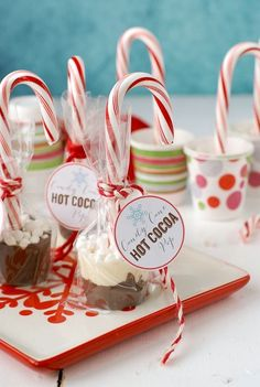 Candy Cane Hot Cocoa Pops: delicious to eat & a great gift! Candy Cane Hot Cocoa Pops are a fun recipe/DIY for parties and gifts. Homemade chocolate on a candy cane with tiny marshmallows are ready to melt in hot milk! Edible Christmas Gifts, Christmas Goodies, Homemade Christmas, Christmas Desserts, Christmas Treats, Christmas Baking, Diy Xmas Gifts, Diy Food Gifts, Christmas Hamper
