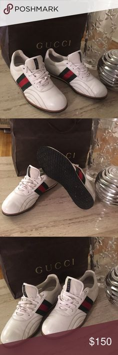 AUTHENTIC GUCCI SHOE White gym shoe. Authentic purchased for my son 18th birthday and he only worse about 2 times because they were 2 little.  Very nice treasure for someone else. Gucci Shoes Athletic Shoes