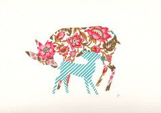 Silhouette of an animal or object in floral or decorative fabric/ paper/ drawing. It looks really nice.