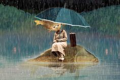 http://momentiriciclati.tumblr.com/  #photocollage #portrait #fish #anthropomorph #vintagephoto #rain #umbrella #art