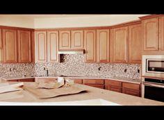Beautiful kitchen remodel! Glass Mosaic Backsplash by Unicorn Tile