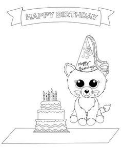 ec53c715dde Beanie Boo Birthday theme Coloring Picture for Kids Teddy Bear Coloring  Pages
