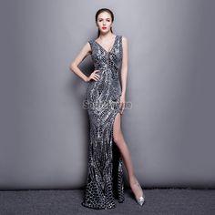 robe nouvel an pailletée de soirée longue argent à rayure coupe fourreau slim