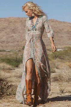 New Fashion women Summer Floral Print V-neck Sexy Boho Chiffon Femme Vestidos Dresses Maxi Dress Gypsy Look, Look Boho, Look Chic, Gypsy Style, Boho Gypsy, Hippie Style, Gypsy Cowgirl, Bohemian Style Clothing, Cowgirl Style