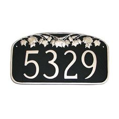 Montague Metal Products Leaf Address Plaque Finish: Chocolate / Gold, Mounting: Lawn