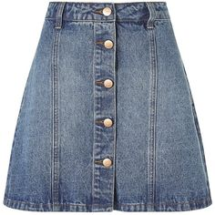 Anita And Green Denim Skirt ❤ liked on Polyvore featuring skirts, button down skirt, denim button up skirt, button up skirt, knee length denim skirt and button down denim skirt