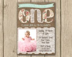 Blush Pink Lace Burlap First Birthday Invitation in shabby chic
