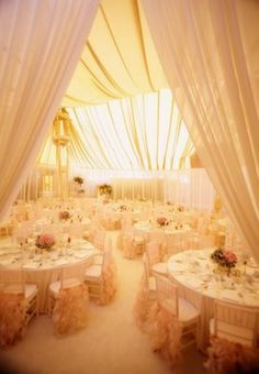 white wedding. lovely drapes.