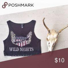 Wild Nights Rocker Crop Top ribbed body, lace hem. cropped. Tops Crop Tops