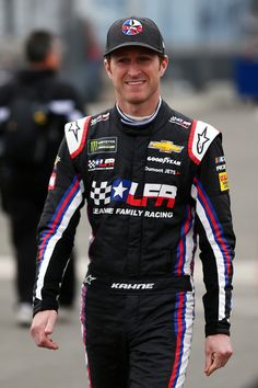 Kasey Kahne, driver of the #95 WRL General Contractors Chevrolet, walks on the grid during qualifying for the Monster Energy NASCAR Cup Series Auto Club 400 at Auto Club Speedway on March 16, 2018 in Fontana, California.