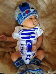 Gray and Blue R2D2 Beanie and Bootie Set, Infant sizes 0-12 months