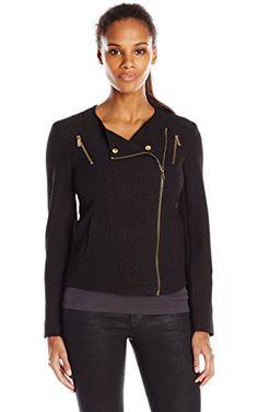 Calvin Klein Women's Textured Moto Jacket, Black, Large ❤ Calvin Klein Women's Collection