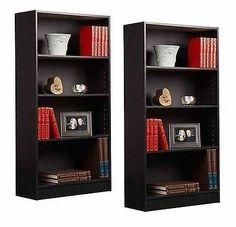 4-Shelf Bookcase Black Set Of 2 Bookshelves Shelving Furniture Book Shelves